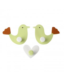 WALL HOOK CHIRPY BIRD GREEN