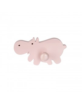 WALL HOOK :HAPPY HIPPOS PINK